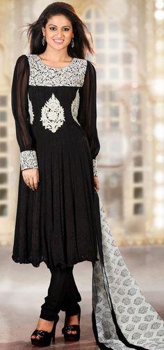 $131.76 Black Embroidery Faux Georgette Anarkali Salwar Kameez 25045