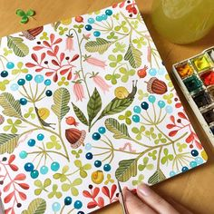 Lovely patterned watercolour illustration by Kirsten Sevig. Illustration Blume, Watercolor Illustration, Watercolor Journal, Watercolor And Ink, Watercolour Painting, Painting & Drawing, Watercolors, Painting Flowers, Designers Gráficos