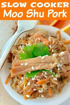 This Slow Cooker Moo Shu Pork recipe is a terrific fake-out, take-out meal that takes just a few minutes to prepare. It's like an Asian pork BBQ. Instapot Pork Tenderloin, Pork Tenderloin Recipes, Pork Recipes, Slow Cooker Recipes, Asian Recipes, Crockpot Recipes, Ethnic Recipes, Recipies, Easy Delicious Recipes