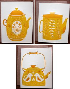 Incredibly cute letterpress teapot cards (great for framing as small prints, too), inspired by Pennsylvania Dutch Ware and Norwegian folk art. By Erin Wallace.