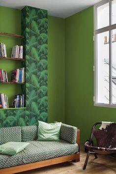 J'habille mon salon de peinture verte