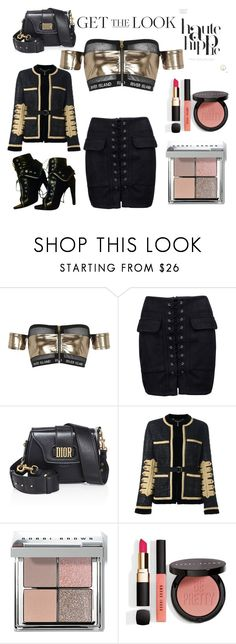 """Black and gold"" by veronicakaira on Polyvore featuring River Island, WithChic, Christian Dior, Givenchy, Bobbi Brown Cosmetics, Alexander Wang, Haute Hippie, Dior, RiverIsland and BobbiBrown"