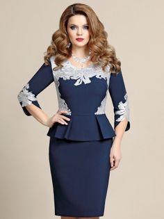 Платье синее с баской, с серебром – купить в интернет-магазине «L'MARKA»: доставка по России