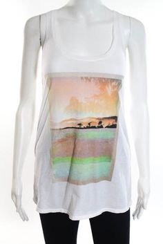 b51aee45f1 Michael Stars White Sleeveless Sunset View Print Tank Top Size One Size New   78  fashion  clothing  shoes  accessories  womensclothing  tops (ebay link)