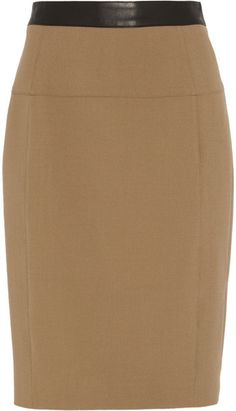 67c18ed182 Leathertrimmed Stretchcrepe Pencil Skirt - Lyst My Wardrobe, Burberry  Women, London, Pencil,