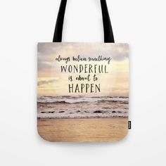 sylviacookart.com beach, ocean, Pacific, seascape, nature, typography, landscape, coast, waves #beach #ocean #typography #tote