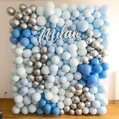 Adorable hues of blue for your sweet baby boy! Stunning balloon wall for a baptism, confirmation or birthday party! Ballon Decorations, Baby Boy Decorations, Birthday Party Decorations, Party Themes, Balloon Backdrop, Balloon Wall, Balloon Garland, Baby Shower Parties, Baby Shower Themes