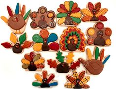 Various turkey cookies. Fall Decorated Cookies, Fall Cookies, Cut Out Cookies, Cute Cookies, Holiday Cookies, Cookie Packaging, Packaging Ideas, Turkey Cookies, Thanksgiving Cakes