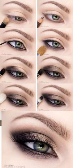 Smoky Eye Makeup with Step by Step, Perfect and in Maquillaje de Ojos Ahumados con Paso a Paso, Perfecto ¡y en Minutos! Smoky eye makeup fast and easy to do. Skin Makeup, Beauty Makeup, Makeup Eyeshadow, Green Eyes Makeup, Eyeshadow Palette, Green Eyeshadow, Mac Makeup, Makeup Geek, Eyemakeup For Green Eyes