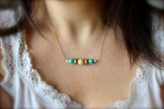 Champagne, gold, teal bar necklace, 14k gold filled necklace, bridesmaids necklace on Etsy, $22.00