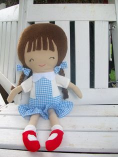 Dori - A Wizard of Oz - Dorothy Inspired Cloth/Fabric Doll.  Custom Made from a Dolls and Daydreams pattern. $43.00, via Etsy.