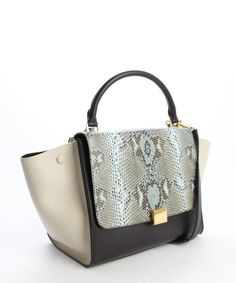 Celine turquoise and black python embossed detail leather 'Trapeze' top handle crossbody bag