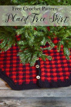 crochet plaid tree skirt free crochet pattern