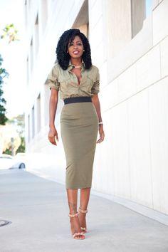 StylePantry - Men's Military Button Down + Contrast Waist Skirt