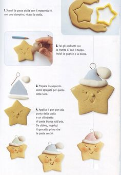 Creazioni pasta al sale by byby collection Cookie Tutorials, Clay Tutorials, Arts And Crafts, Diy Crafts, Cold Porcelain, Polymer Clay, Xmas, Christmas, Cookies