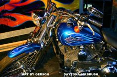 flames custom airbrush motorcycle art by Henry Gerson of Daytona-Airbrush...check us out on Facebook
