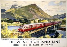 Poster produced for British Railways (BR) to promote the West Highland Line. The poster shows a train of observation coaches crossing the Lochy Viaduct near Fort William in the Scottish Highlands. Artwork by Jack Merriott. Posters Uk, Train Posters, Railway Posters, Travel Ads, Train Travel, Holland, British Travel, Retro Poster, Fort William