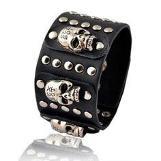 Personalized Jewelry-Heavy metal punk style personality distinctive  Leather punk fashion skull rivet bracelet.34g - $71nok (60)