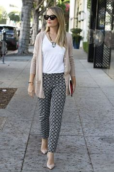Cropped printed pants and boyfriend cardigan with flats or heels