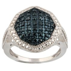 Admirable Gigantic Ring with 0.05 Carat Blue Diamond, 925 Sterling Silver  #PrismJewel #GiganticRing #Christmas