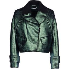CARVEN Jacket ($282) ❤ liked on Polyvore featuring outerwear, jackets, coats, coats & jackets, deep jade, pocket jacket, green jacket, collar jacket, carven jacket and lined jacket