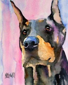 Doberman Pinscher Art Print of Original Watercolor by dogartstudio #dobermanpinscher