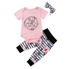 cfaa405d689 Infant Girl Clothes Baby Sister Outfit Short Sleeve Bodys... https