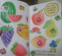 "Destroza este diario/ Wreck this journal ""Estampitas de fruta"" #Fuits"