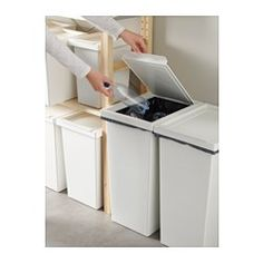 IKEA - FILUR, Bin with lid, 11 gallon, , Easy to clean as the corners are rounded. Inexpensive Home Decor, Diy Home Decor, Kitchen Reviews, Recycling Facility, Bathroom Bin, Pottery Barn Inspired, Recycling Bins, Small Storage, Home Organization