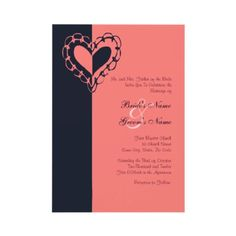 Navy and Coral Wedding Ideas  Blue and Pink Heart Wedding Invitation  This classy wedding invitation features navy and coral colors with a whimsical heart image giving it a romantic touch for the special occasion. Great for weddings utilizing a classic theme and colors. Also able to be used for bridal showers and wedding showers by customizing the text to say just what you need. Great for a spring, summer, fall or autumn wedding!