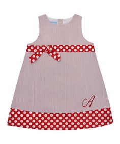 Loving this Red Dot-Accent Initial A-Line Dress - Infant, Toddler & Girls on #zulily! #zulilyfinds
