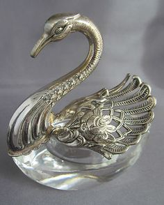 Antique Vintage Sterling Glass Articulated Swan Salt Cellar Marked   eBay