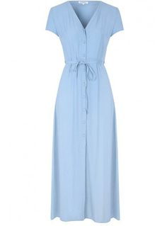 Light Blue Button Down Maxi Dress