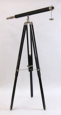 Nautical Decor Chrome & Leather Telescope Black Wooden Stand, Nickel Plated, Faux Leather By NAUTICALMART