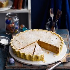Traditionally from Kent, it was a staple on school dinner menus. The ingredients are simple, but the trick is not to overbake the tart or the contents will liquefy. Tart Recipes, Baking Recipes, Dessert Recipes, Desserts, Dessert Ideas, Uk Recipes, Family Recipes, Cheesecake Recipes, Sweet Pie