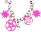 Neon Pink PENTAGRAMS and SKULLS Adjustable Charm Bracelet