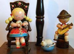 Vintage Childrens Lamp German Folk Art Lamp by FieldsOfVintage