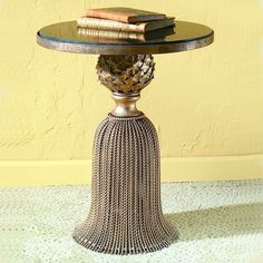 Antique Gold Twisted Iron Tassel Table with Black Granite Top Dr. Livingstone I Presume - Iron Furniture, Home Furniture, Chair Side Table, Side Tables, Coffee And End Tables, Iron Table, Metal Wall Decor, Elegant Homes, My Living Room