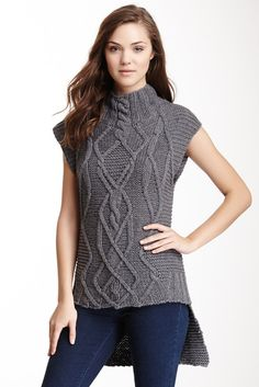 Image of Autumn Cashmere Cable Knit Hi-Lo Gilet Sweater