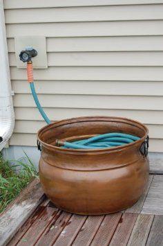 Amazon.com : Unique Arts Mild Steel Large Hose Pot Copper Finished : Garden  Hose