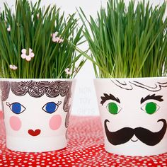Grass head pots - a fun spring gardening craft for kids. Plant the seeds, water and wait for the grass to grow. | at Non Toy Gifts
