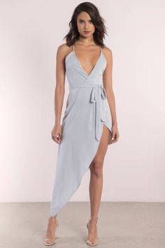 Looking for the Kalani Silver Assymetric Cami Wrap Dress?   Find Wrap Dresses and more at Tobi! - 50% Off Your First Order - Fast & Free Shipping For Orders over $50 - Free Returns within 30 days!