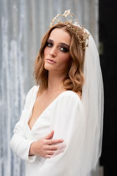 Cool, modern bridal shop in Nottingham. Stylish intimate boutique specialising in bridal wear for fashion-forward boho brides. Wedding Hair Pins, Bridal Hair Vine, Bridal Crown, Bridal Tiara, Bridal Headpieces, Luxe Wedding, Wedding Trends, Celestial Wedding, Special Occasion Hairstyles