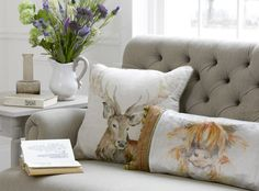 Voyage Gregor Linen Cushion at Nicholls. Country Cushions, Stag Cushion, Home Interior Accessories, Interior Design, Edwardian House, Animal Magic, Family Room Design, Soft Furnishings, Printing On Fabric