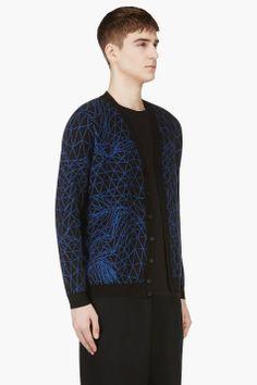 CHRISTOPHER KANE Black & Blue Printed Knit Cardigan
