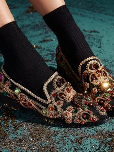 Crown Jewels Loafer | Ultra glam leather loafers fit for royalty. Features gorgeous gold embroidery throughout with eye-catching stone accents in various bold hues. Padded footbed for support.