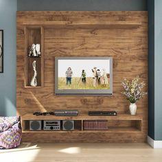 Hasil gambar untuk painel de tv com rack rustico Pallet Furniture Tv Stand, Tv Furniture, Tv Wall Design, House Design, Muebles Rack Tv, Amazing Pallet Ideas, Home Para Tv, Painel Home, Tv Wanddekor