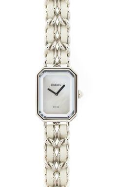 Chanel White And Silver Watch.