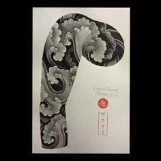 tattoos in japanese prints Tatuajes Irezumi, Irezumi Tattoos, Japanese Cloud Tattoo, Japanese Sleeve Tattoos, Asian Tattoos, Trendy Tattoos, Rauch Tattoo, Hannya Maske, Cloud Tattoo Sleeve