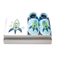 Zoom Giftset - £28.50  With gift box. Real Leather UK Handmade shoes. 100% cotton babygro